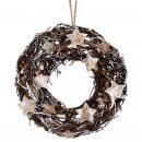 Wreath birch star, D30cm, H7cm, natural white